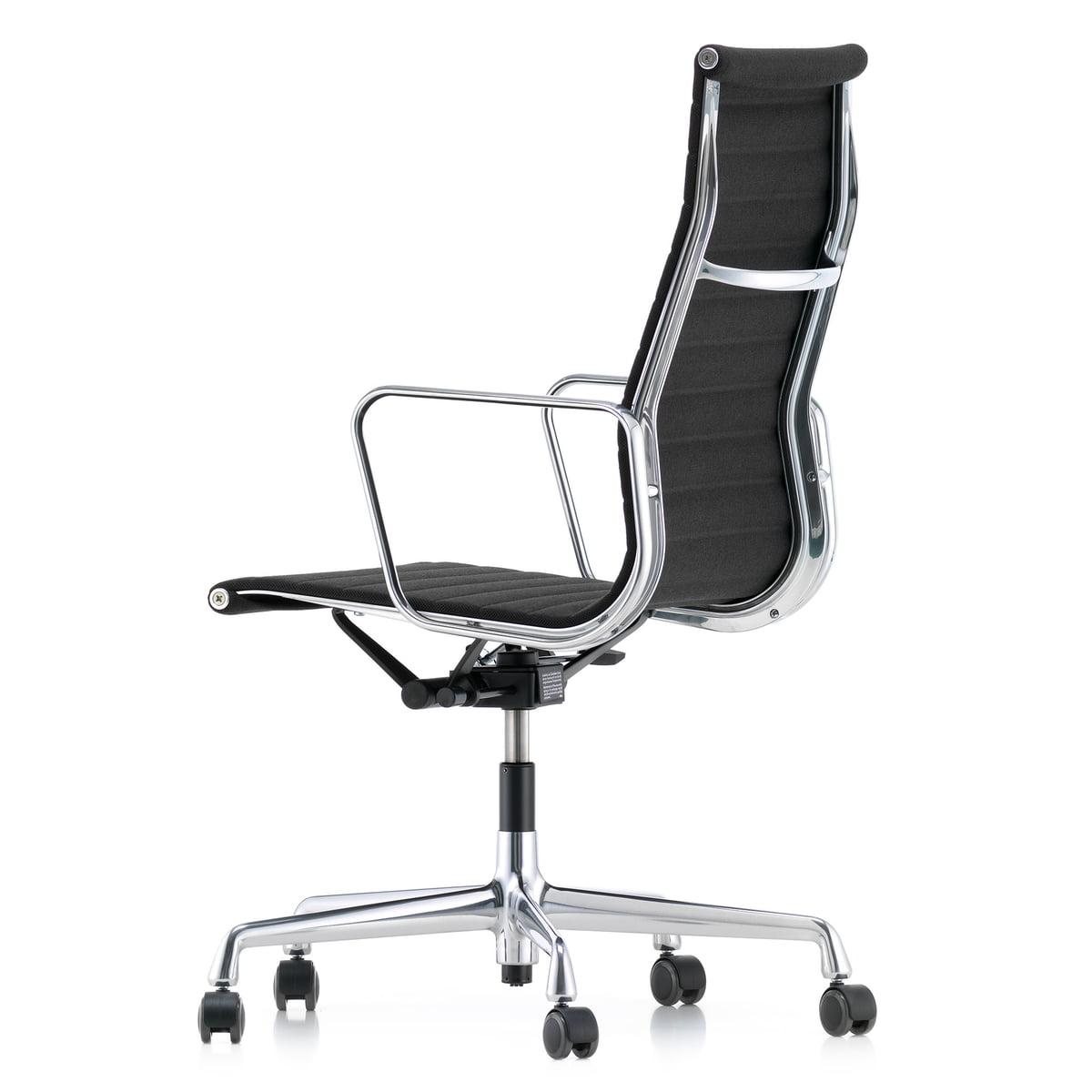 moins cher f249a f62b1 Vitra - Alu-Chair EA 119 chrome, pivotant, accoudoirs, Hopsak, noir