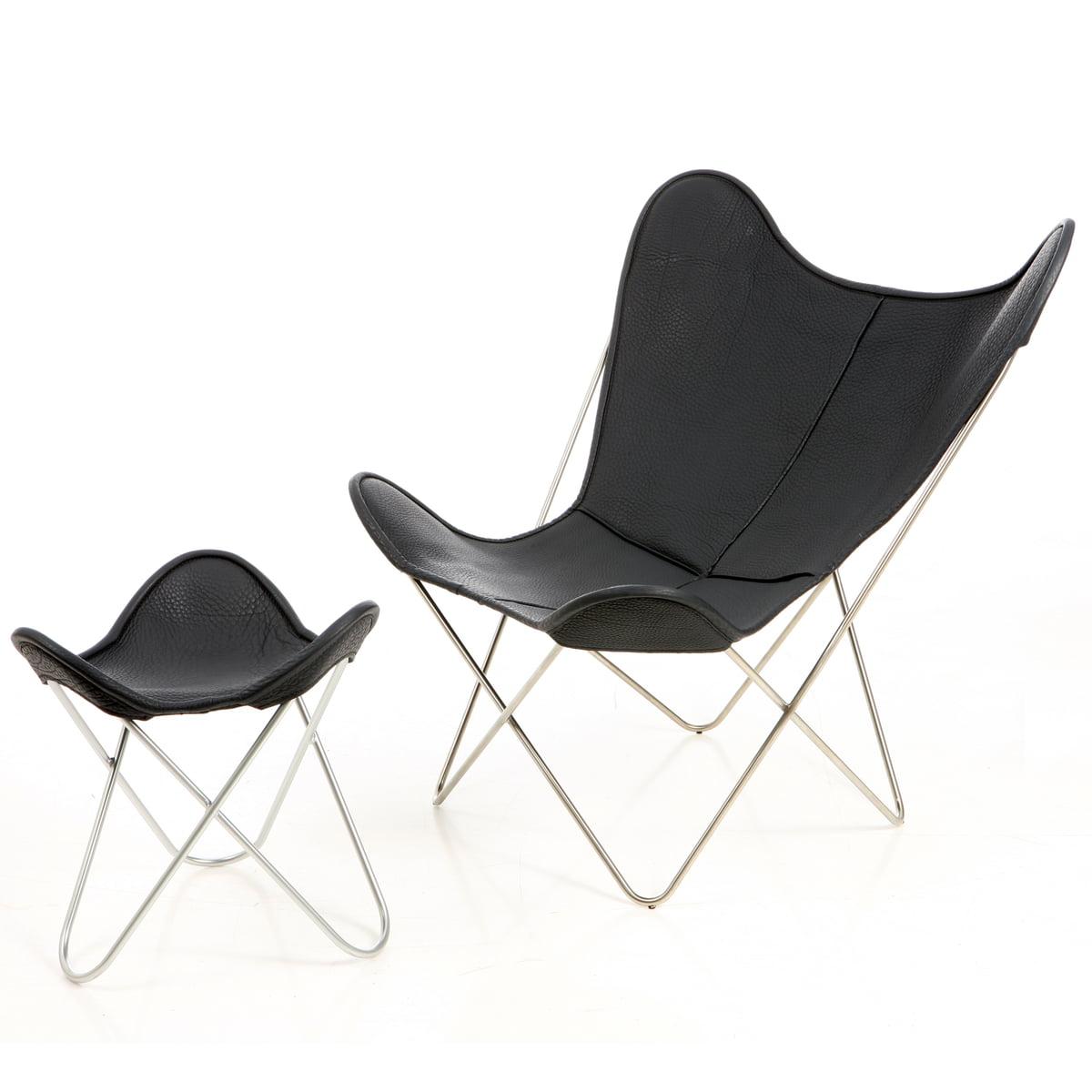 chaise butterfly b k f manufakturplus cuir. Black Bedroom Furniture Sets. Home Design Ideas