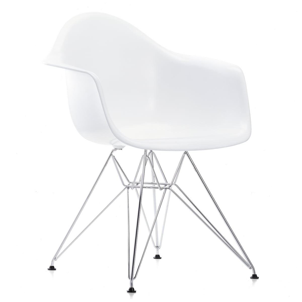 Comment Nettoyer Des Chaises En Plastique Blanc vitra - action set eames fauteuil en plastique dar ensemble 4 pièces,  chromé / blanc (patins en feutre noir)