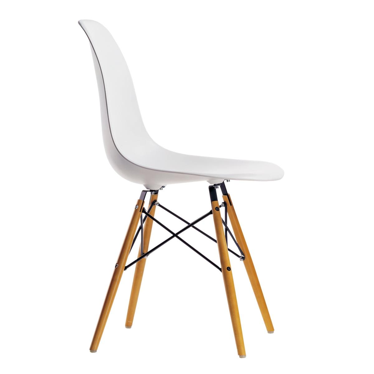Vitra Kit promotionnel Chaise Eames Plastic Side Chair DSW Lot de 4, érable jaunâtre blanc (feutre de planeur blanc)