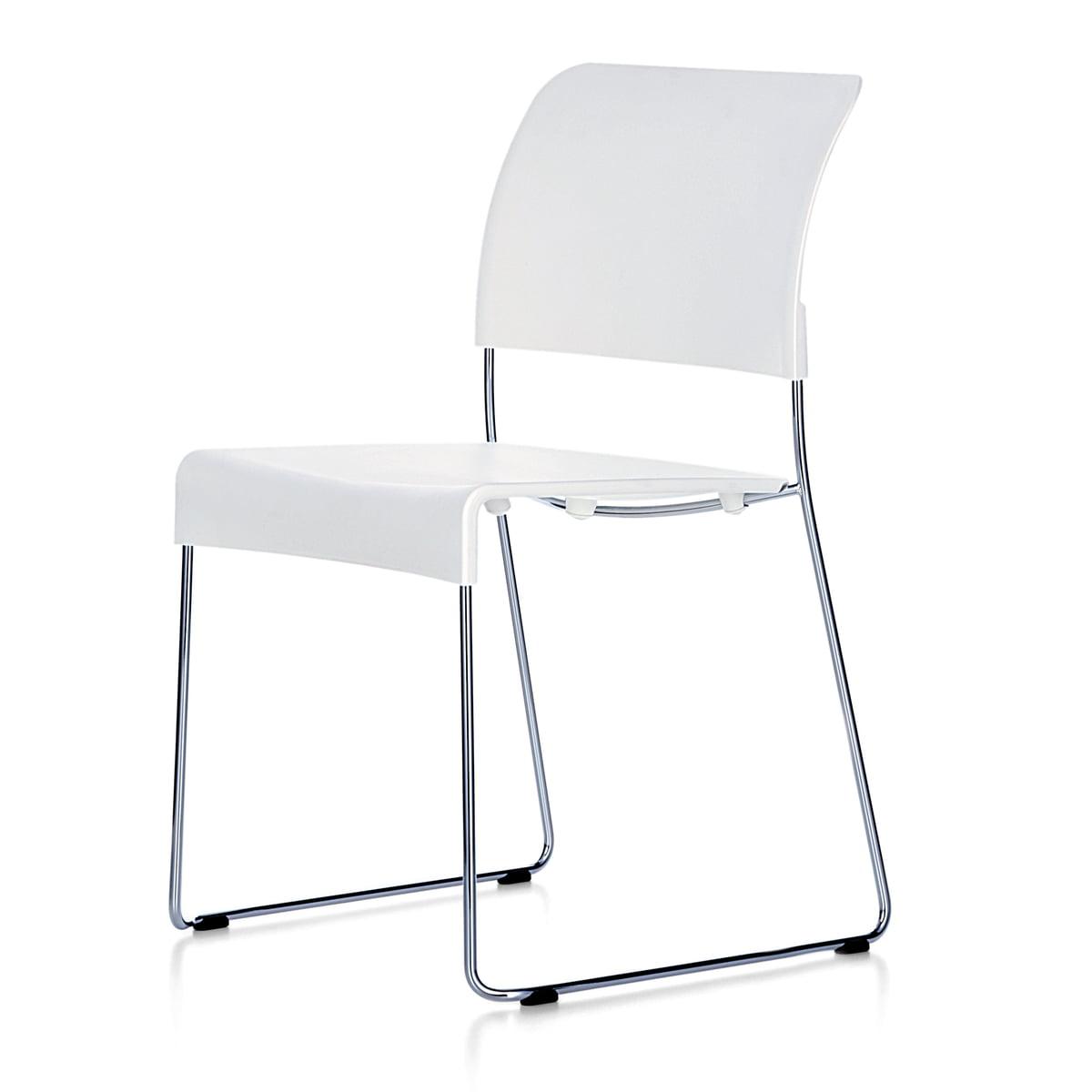 Vitra Chaise SIM, blanc, patins en feutre