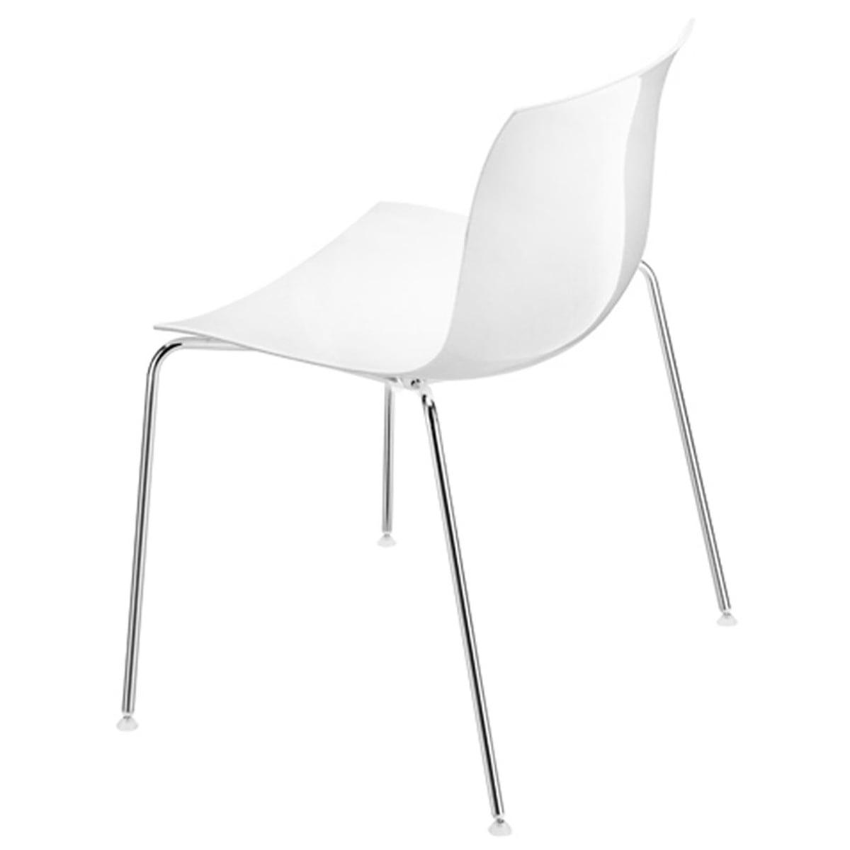 Arper Chaise Catifa 53, assise plastique blanc piétement à quatre pieds chromé