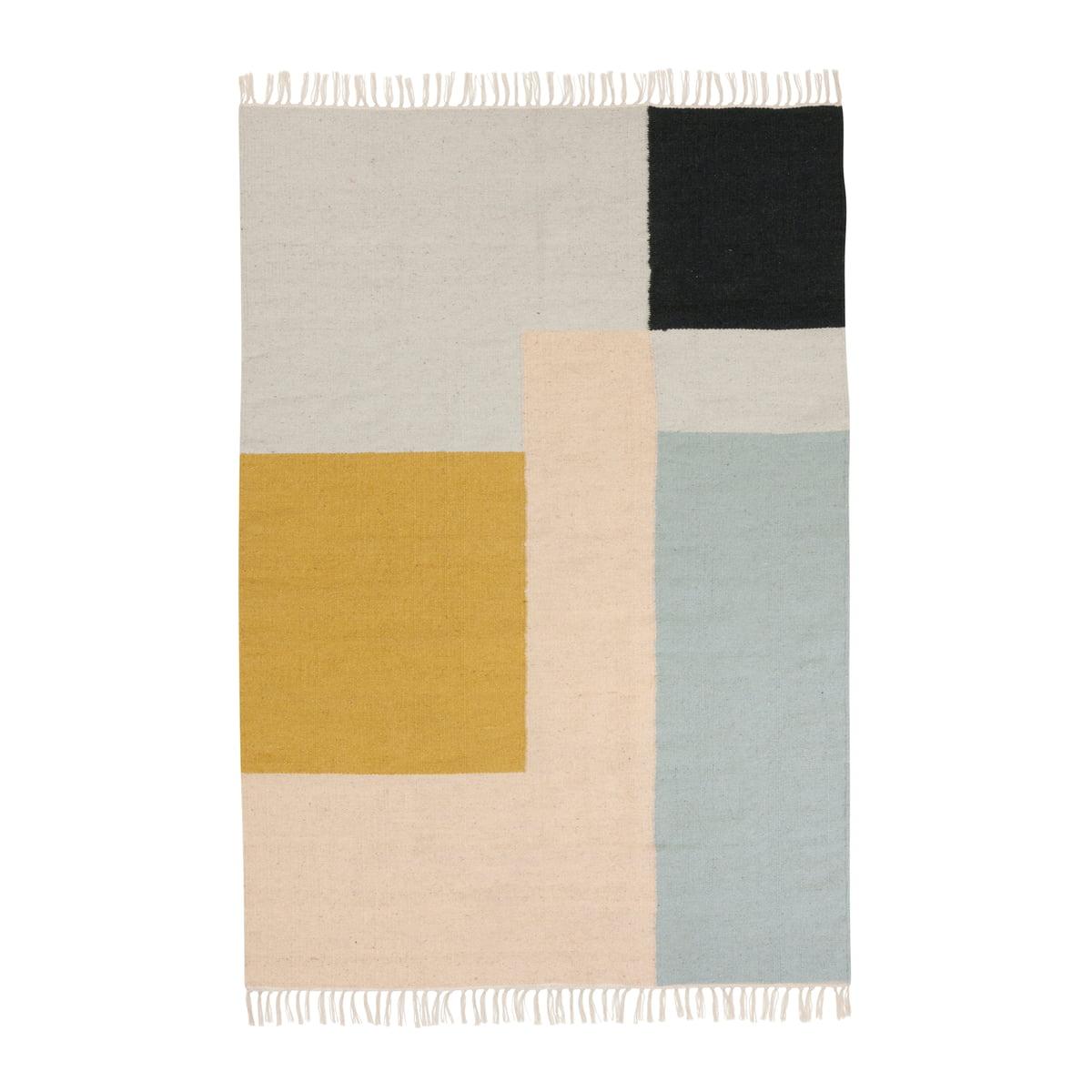 tapis kelim squares de ferm living connox. Black Bedroom Furniture Sets. Home Design Ideas