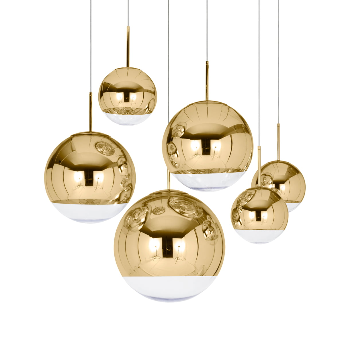 suspension mirror ball gold tom dixon. Black Bedroom Furniture Sets. Home Design Ideas