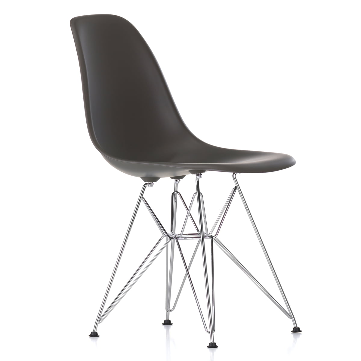 Vitra Chaise Chaise Eames Plastic Side DSR, chromé basalte (patin plastique basic dark)