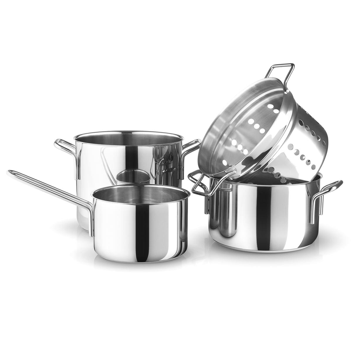 Batterie De Cuisine Gaz eva trio - batterie de cuisine stainless steel, casserole à manche 1,8 l /  cocotte 3,6 l / cocotte 4,8 l / égouttoir pour pâtes