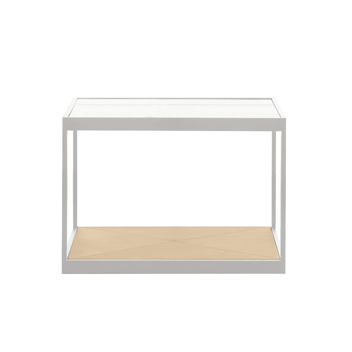 sélection premium b3e88 e8157 Röshults - Table basse Monaco 50 x 50 cm, blanc/cuir (Elmobaltique 02001)