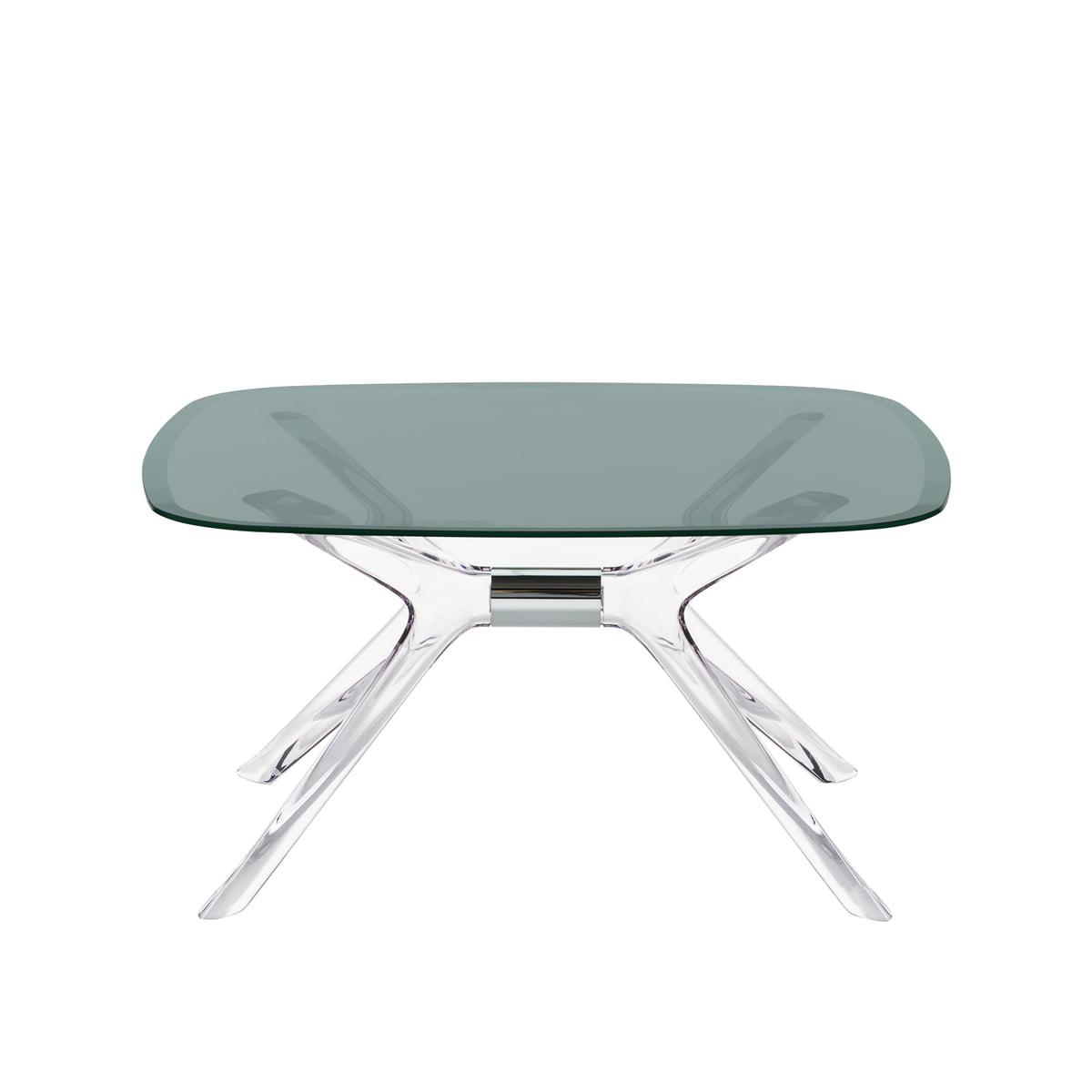 Kartell Table Basse Blast 80 X 80 Cm Cristal Chrome Fumé