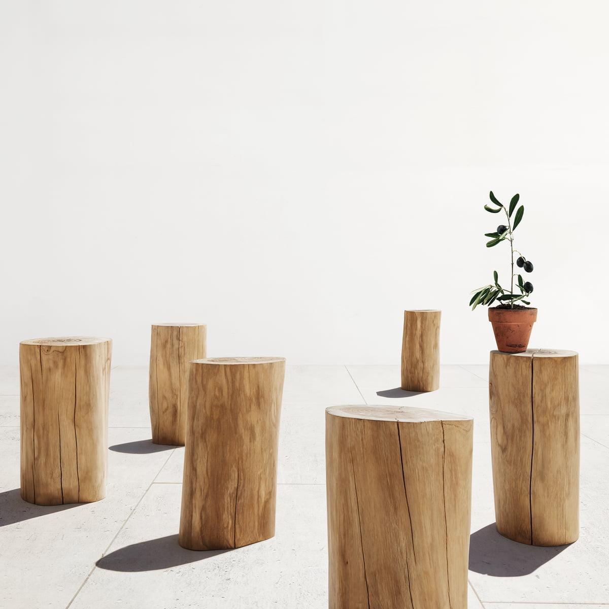 Tabouret Et Table D Appoint Log Par Gloster Bois De Teck