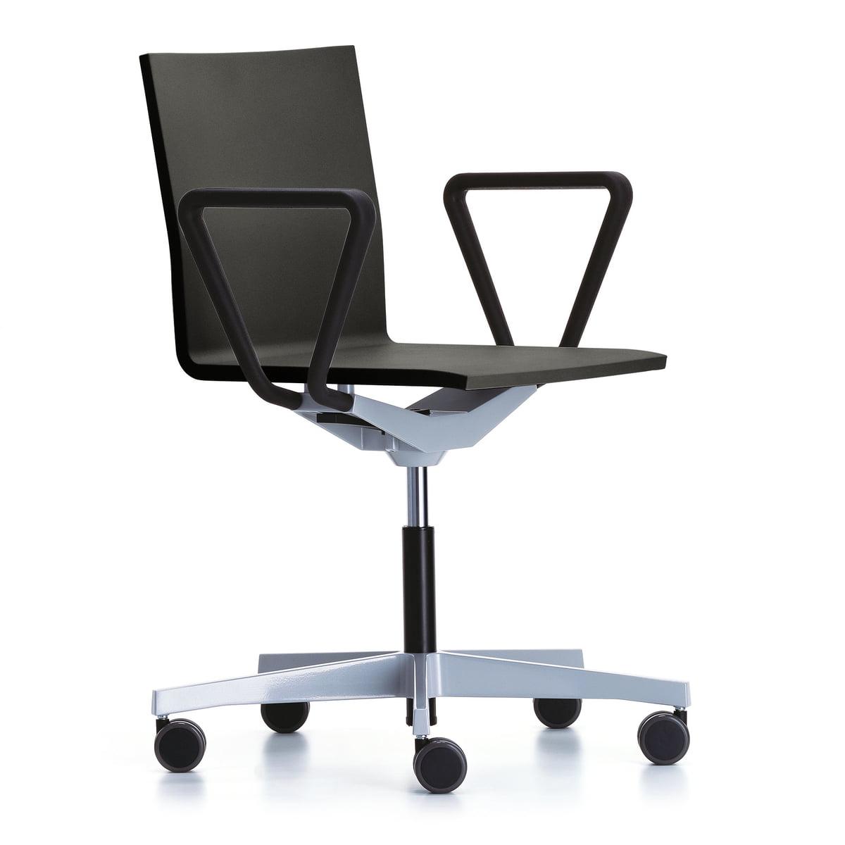 nouveau produit f8736 ba0f3 Vitra - Chaise de bureau pivotante .04 Atelier avec accoudoirs, noir /  basic dark