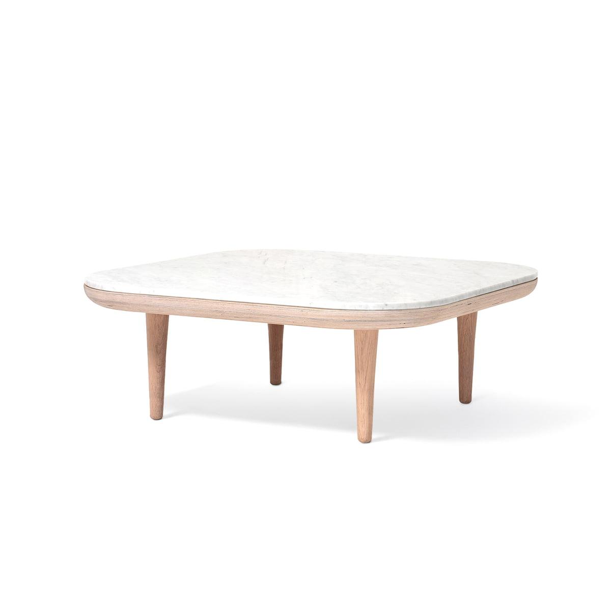 Tradition Table Basse Fly Sc4 80 X 80 Cm Chêne Blanc Marbre Bianco Carrara