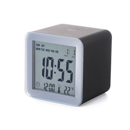 Lexon - Réveil LCD Cube Sensor, aluminium, noir