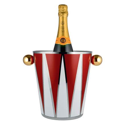 Seau à champagne et vin Circus d'Alessi avec bouteille de vin