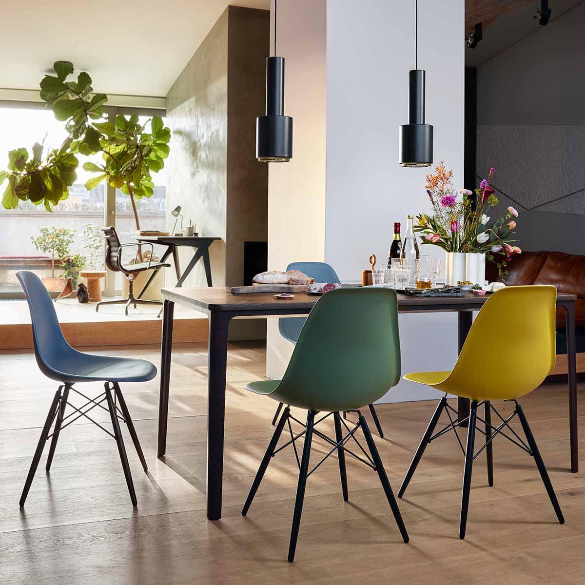 Chair DSRH cmchromé en noirsols blancpatins Side durs Plastic feutre Vitra Eames 43 qMVzpUGjLS