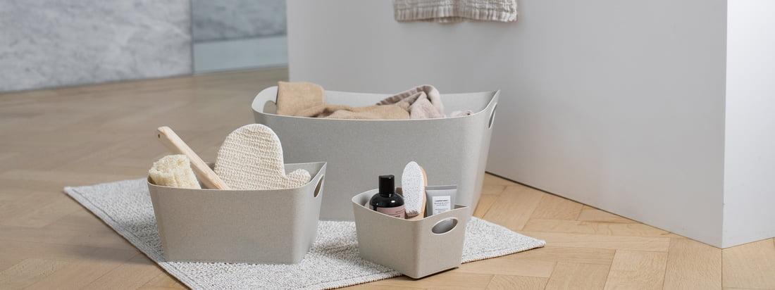 La collection Recycled Bathroom repense les populaires accessoires de salle de bains de Koziol. Le plastique peut être merveilleusement réutilisé. Il était donc évident pour Koziol de concevoir une collection d'accessoires de salle de bains en plastique 100% recyclé.
