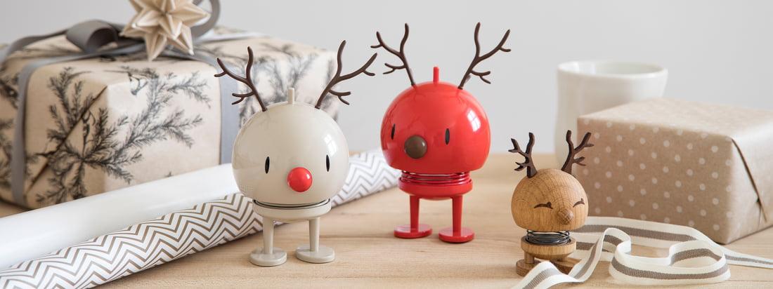 Les figurines de Noël de Hoptimist, conçues avec amour, sont disponibles dans une grande variété de versions - que ce soit en bonhomme de neige, en père Noël, en renne, etc.