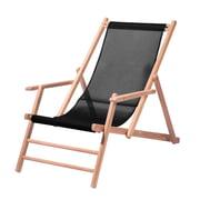 Jan Kurtz - Chaise longue en teck, tissu synthétique