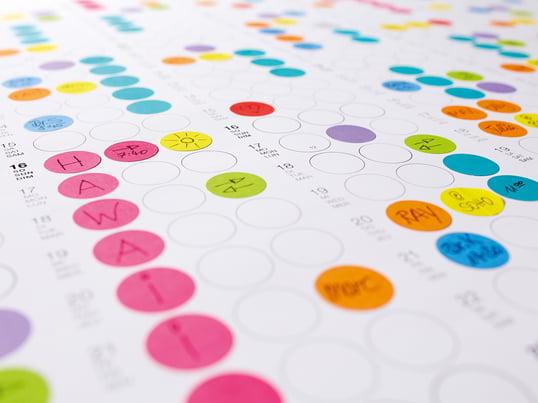 Organisez vos jours, vos semaines et vos mois avec des petits  points collants aux couleurs vives! Ceux-ci peuvent selon les besoins et les goûts accueillir une description ou être coloriés afin de ne jamais perdre la vue d'ensemble.