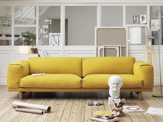Muuto - Canapé Rest 2 places, jaune, image d'ambiance