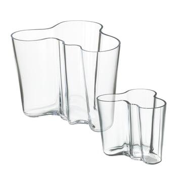 Offre : Ensemble de vases Alvar Aalto en ensemble de 2 - transparent 160 / 95 mm