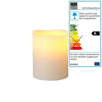Bougie en cire véritable à LED de Klein & More en ivoire