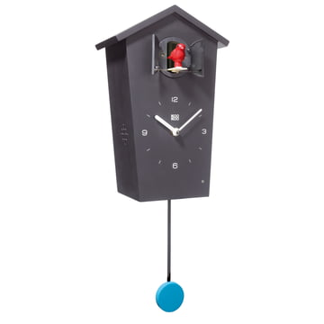 KooKoo - horloge coucou Bird House, noir, oiseau rouge, balancier bleu