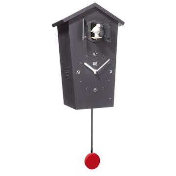 KooKoo - horloge coucou Bird House, noir, oiseau blanc, balancier rouge