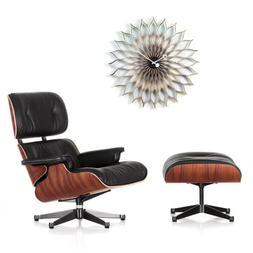Promotion de Noël: Vitra Lounge Chair & Ottoman +Sunflower Clock