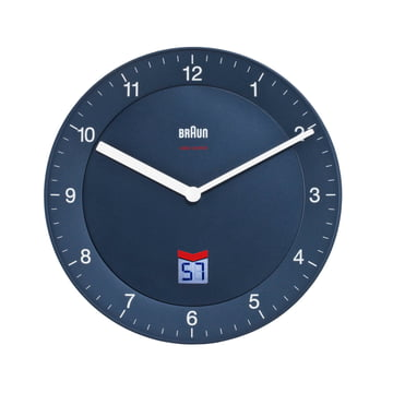 Braun - Horloge murale radio-pilotée analogique BNC006, bleue