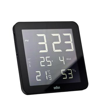 Braun - Horloge murale numérique radio-pilotée BNC014-RC, noire