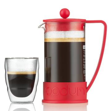 Bodum - Cafetière à piston Brazil, 1,0 l, rouge - avec un verre