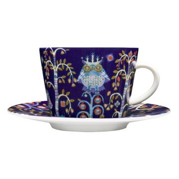 Iittala - Taika - bleue - tasse à café avec soucoupe