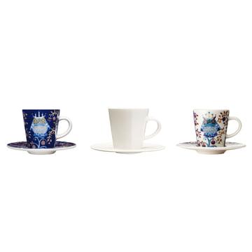 Iittala - Taika - bleue - blanche - tasse à espresso avec soucoupe