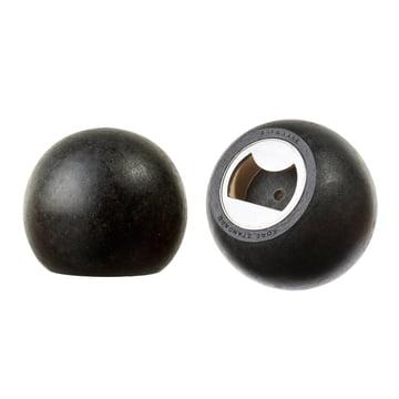 Areaware - Sphère décapsuleur, bois noir - vue latérale