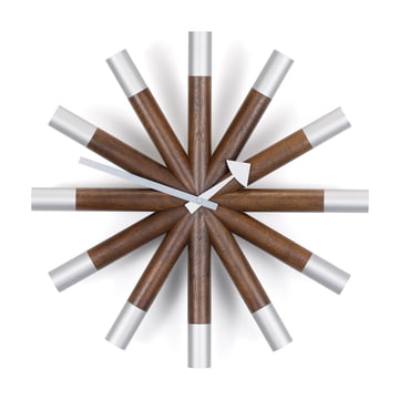 Vitra - Wheel Clock, noyer / aluminium