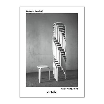 Artek - Poster 80 Years Stool 60, Greige