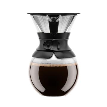 Bodum - Cafetière à piston Pour Over avec filtre permanent, bec court, 1,0 l, noire