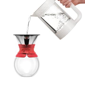 Bodum - Cafetière à piston Pour Over avec filtre permanent, bec court, 1,0 l, rouge