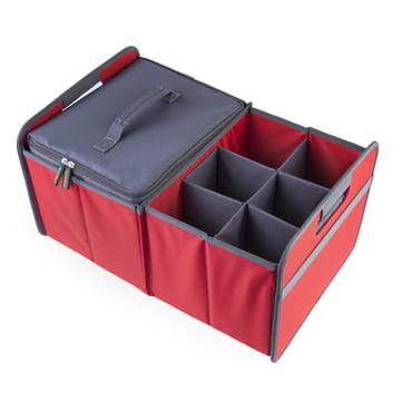 meori - Sac isotherme gris/Sixpack, gris/boîte pliante classique 30litres, rouge hibiscus uni