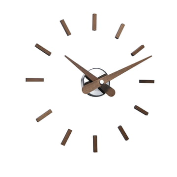 Horloge murale Sunset de nomon avec 12références horaires en bois de noyer
