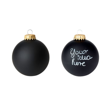 Corpus Delicti - Boule de Noël DIY - Black Magic (lot de 2), noir mat