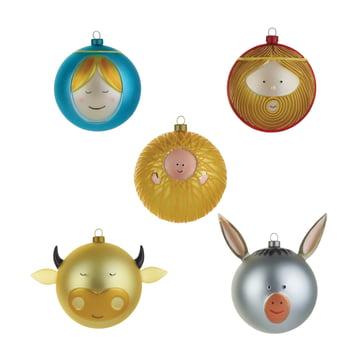 Boules de Noël Enfant Jésus Marie Joseph bœuf et l'âne par A di Alessi (lot de 5)