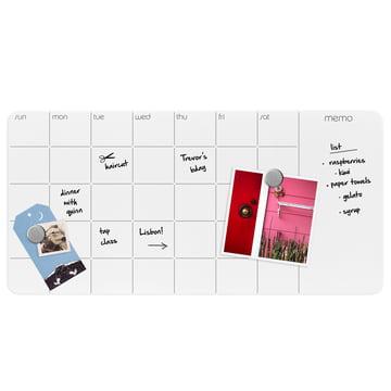 Tableau en verre avec calendrier hebdomadaire et mensuel