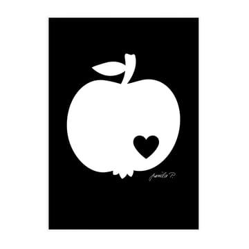 Poster Pomme blanc sur fond noir par byGraziela