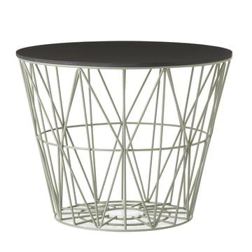 Corbeille Wire Basket en vert-de-gris avec couvercle en noir teinté de ferm Living