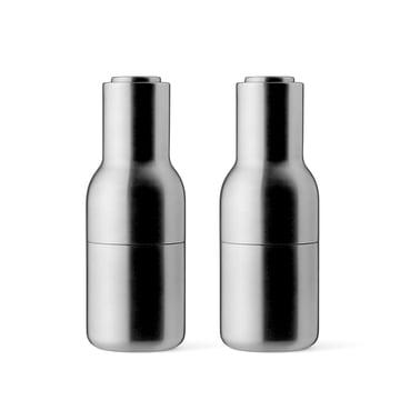 Menu - Moulin à sel et poivre Bottle, ensemble acier inoxydable brossé