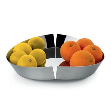 Corbeille à fruits Broken Bowl par Alessi en acier inoxydable poli avec fruits