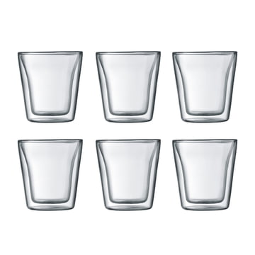 Bodum - Canteen verre, double paroi, 0,1 l, transparent (Set de 6)