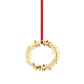 Décoration de Noël couronne 2016 doré par Georg Jensen avec ruban rouge