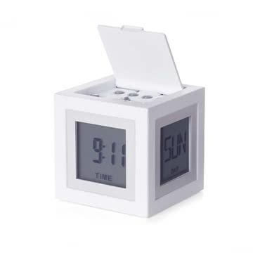 Réveil LCD Cubissimo de Lexon en blanc